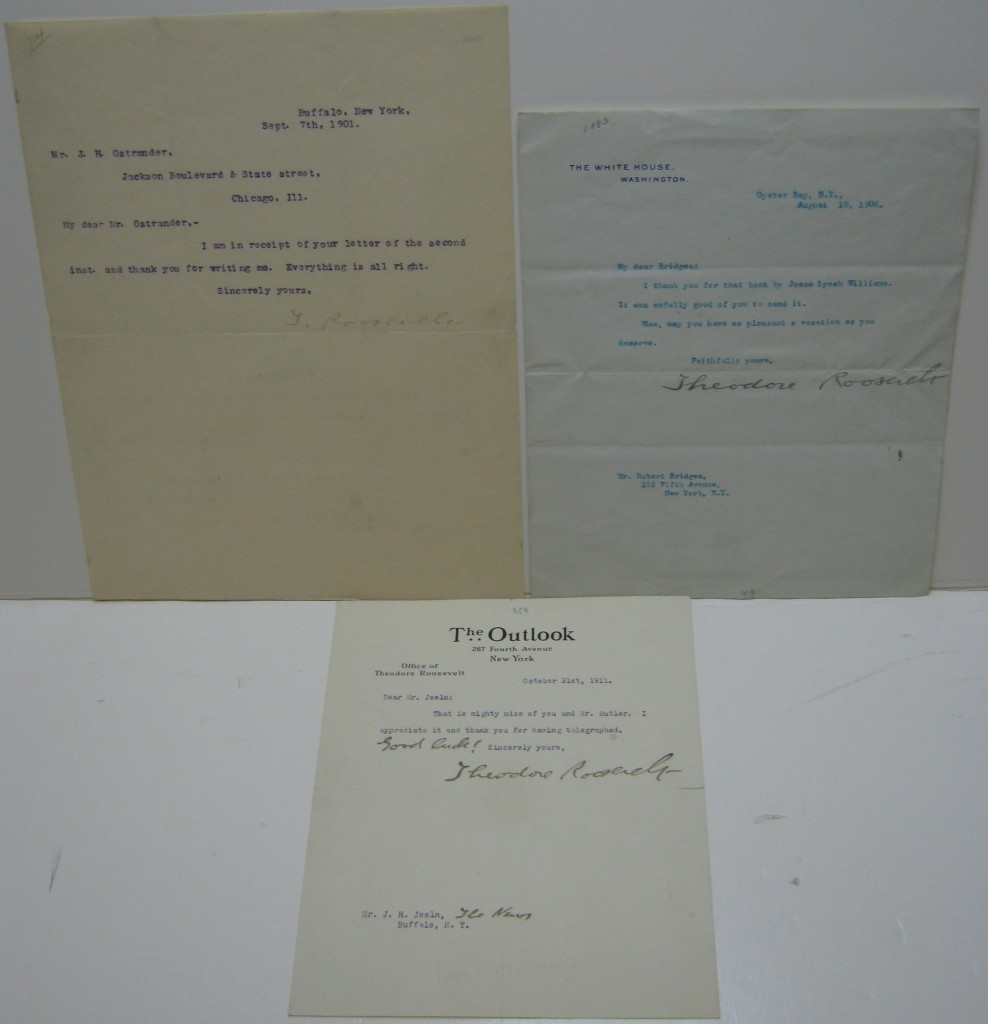 ROOSEVELT, THEODORE. Group of three Typed Letters Signed, Theodore Roosevelt or T. Roosevelt, one as President,