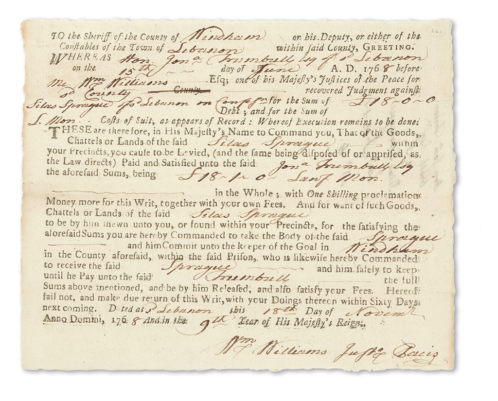 WILLIAMS-WILLIAM-Partly-printed-Document-Accomplished-and-Si