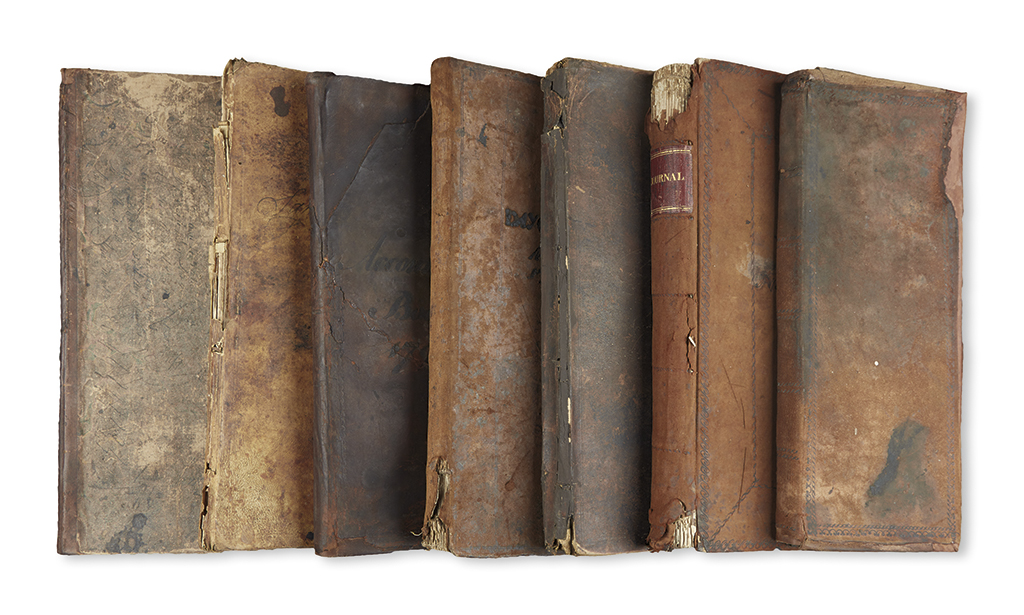 (COMMERCE.) Group of general store daybooks from New York, Connecticut, and Rhode Island.