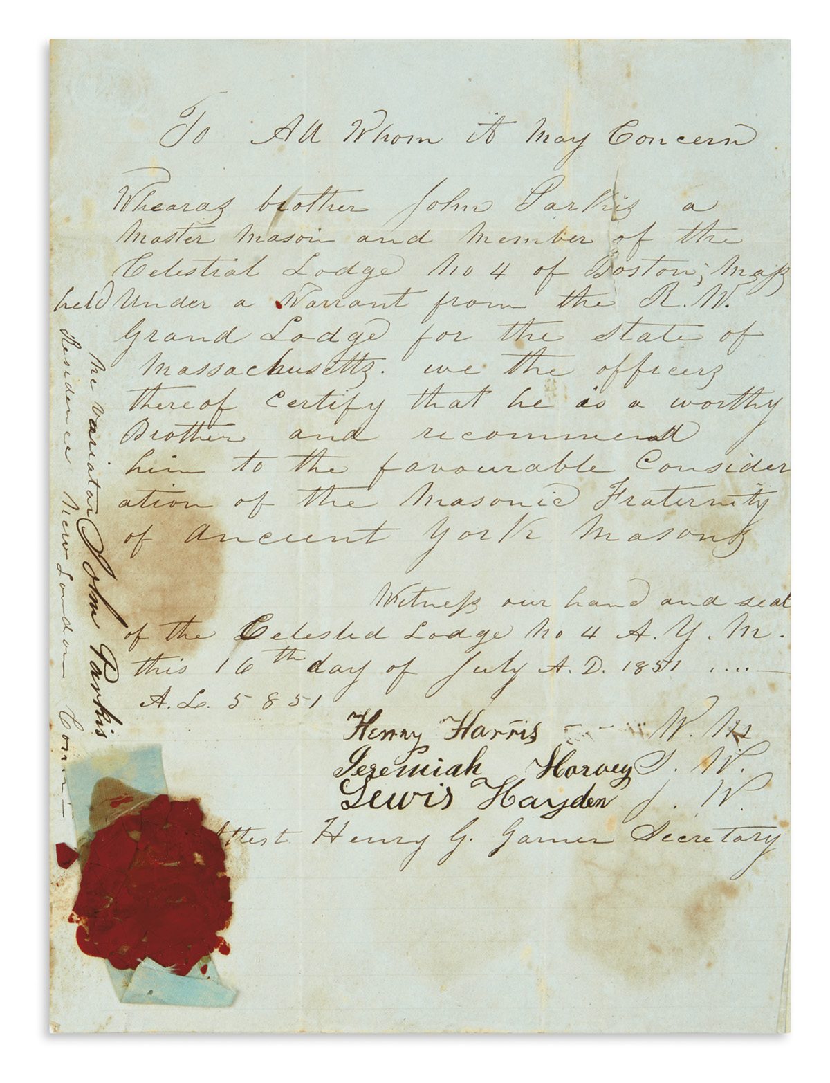 (FRATERNAL.) Masonic certificate signed by the important abolitionist Lewis Hayden, a fugitive from slavery.