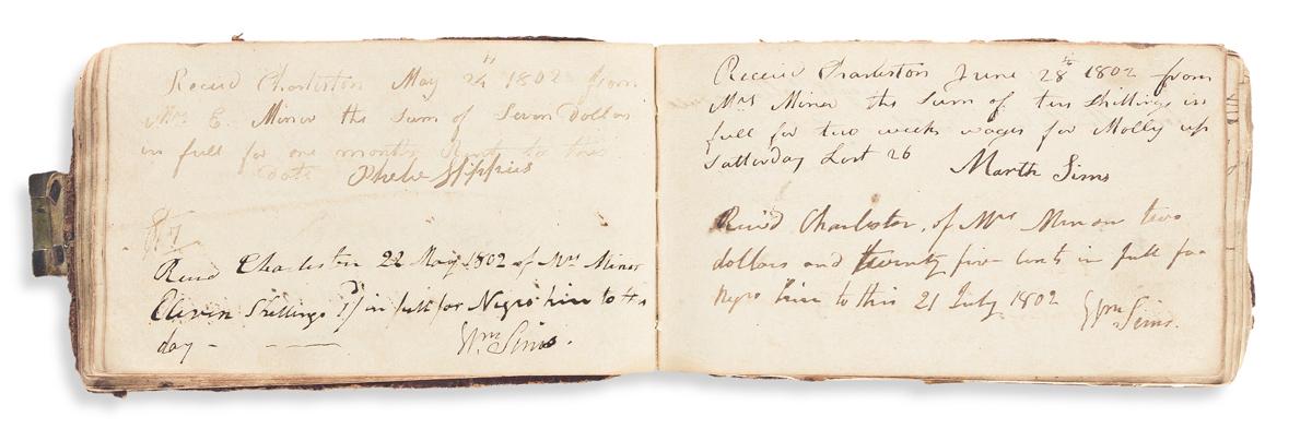 (SOUTH CAROLINA.) Receipt book kept by a widowed Charleston boarding house keeper.