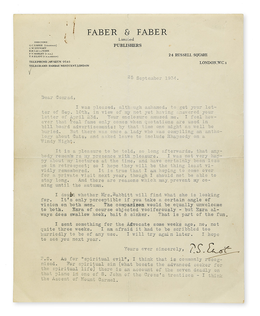 ELIOT, T.S. Typed Letter Signed, to friend and fellow writer Conrad Aiken (Dear Conrad),