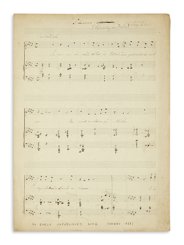 DELIUS, FREDERICK. Autograph Musical Manuscript Signed, Fritz Delius, working draft of his early unpublished work, Susanna (Encounte