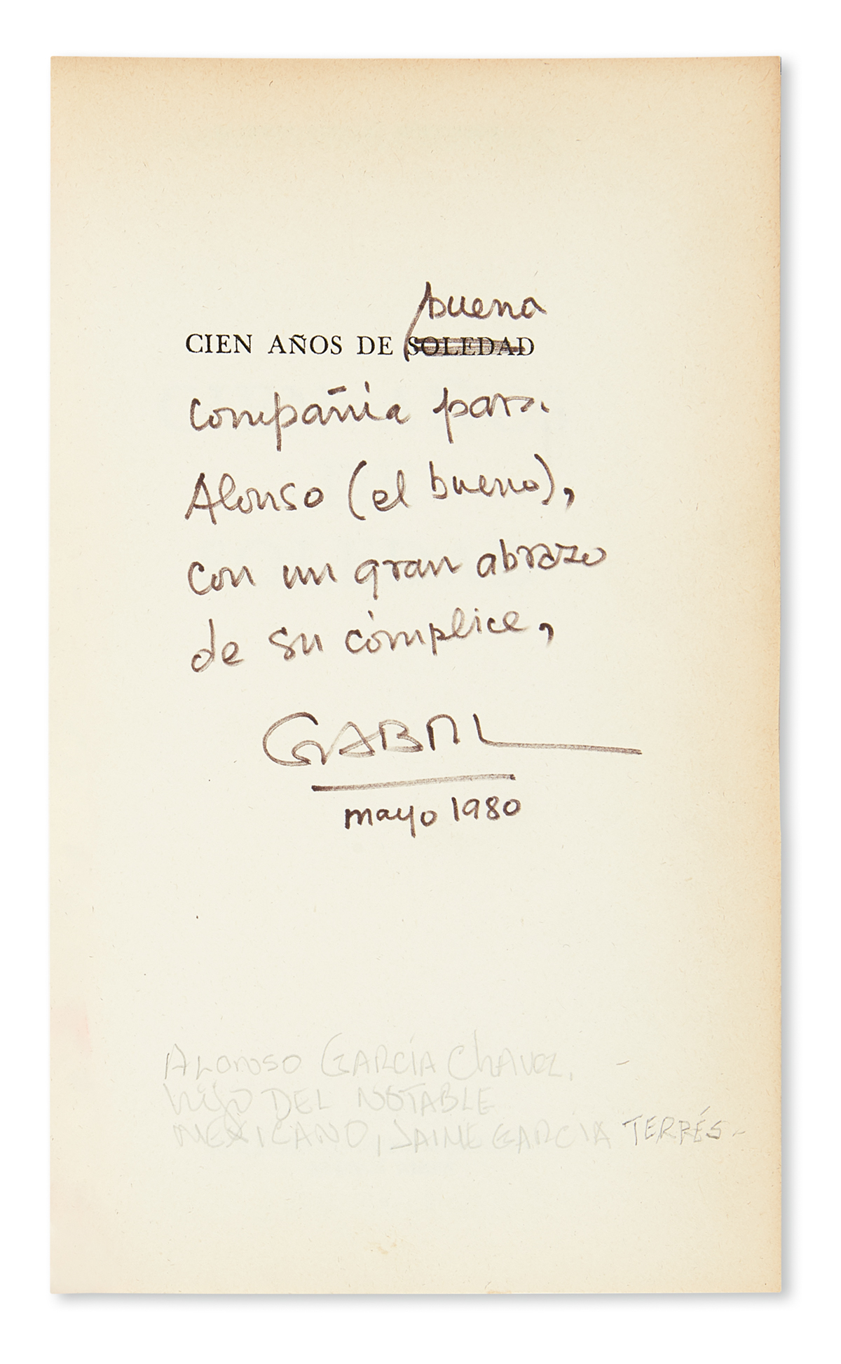 GARCIA MARQUEZ, GABRIEL. Cien Años de Soledad.