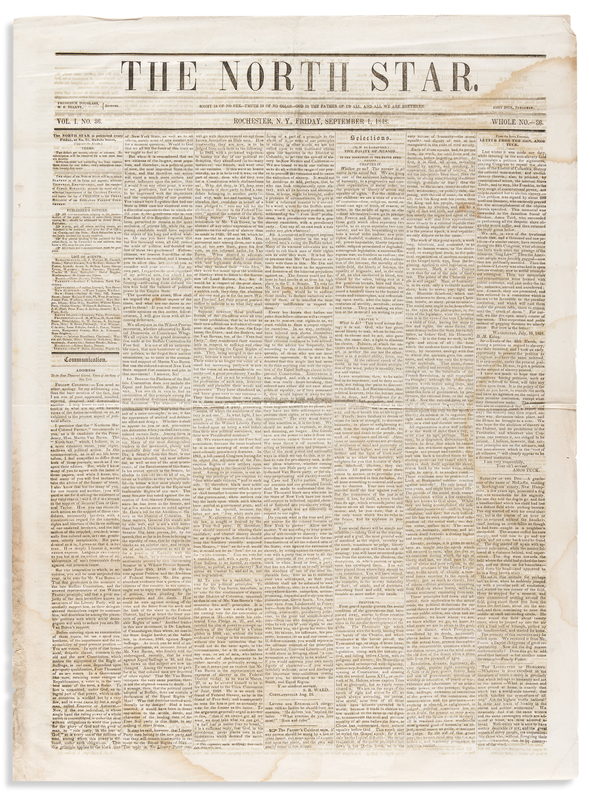 FREDERICK DOUGLASS; editor. Early issue of the North Star,