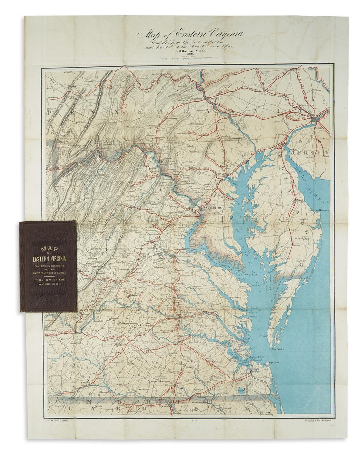(CIVIL WAR.) U.S. Coast Survey; Nicholson, Walter L. (compiler.) Map of Eastern Virginia.