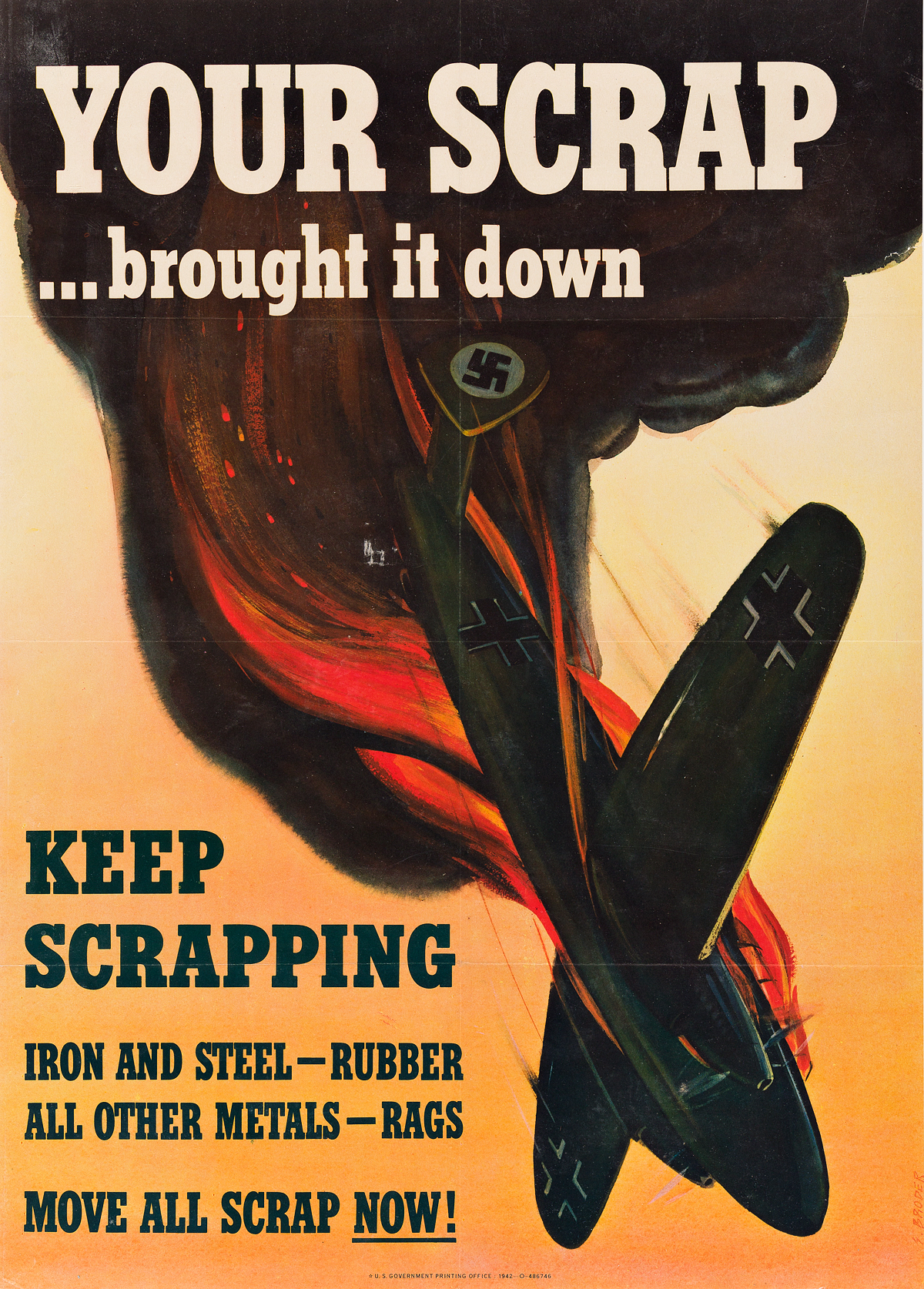 S-BRODER-(DATES-UNKNOWN)-YOUR-SCRAP----BROUGHT-IT-DOWN-1942-28x20-inches-71x50-cm-US-Government-Printing-Office-[Washington