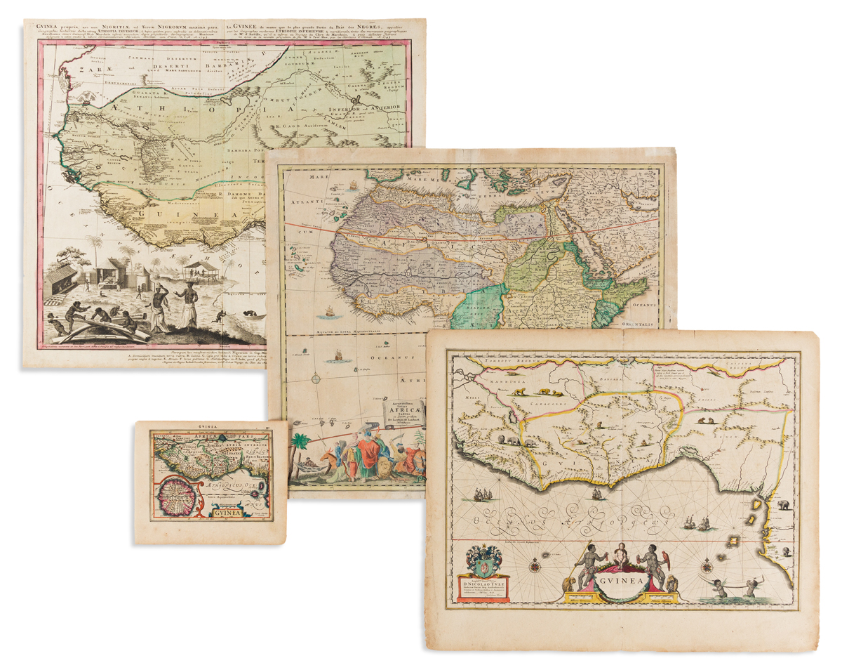 (AFRICA.) Group of 4 seventeenth-and-eighteenth-century hand-colored engraved maps.