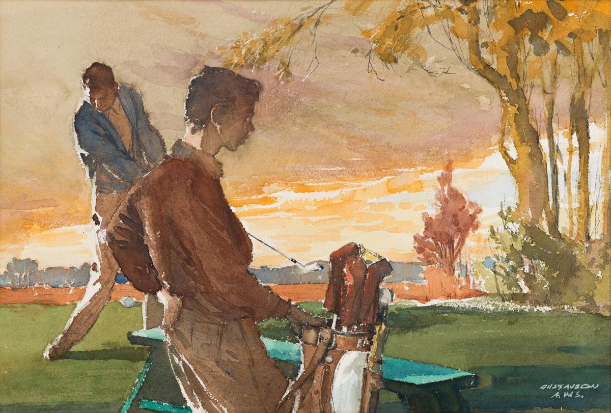 LEALAND R. GUSTAVSON (1894-1966) Golfer and caddie at sunset. [GOLF]