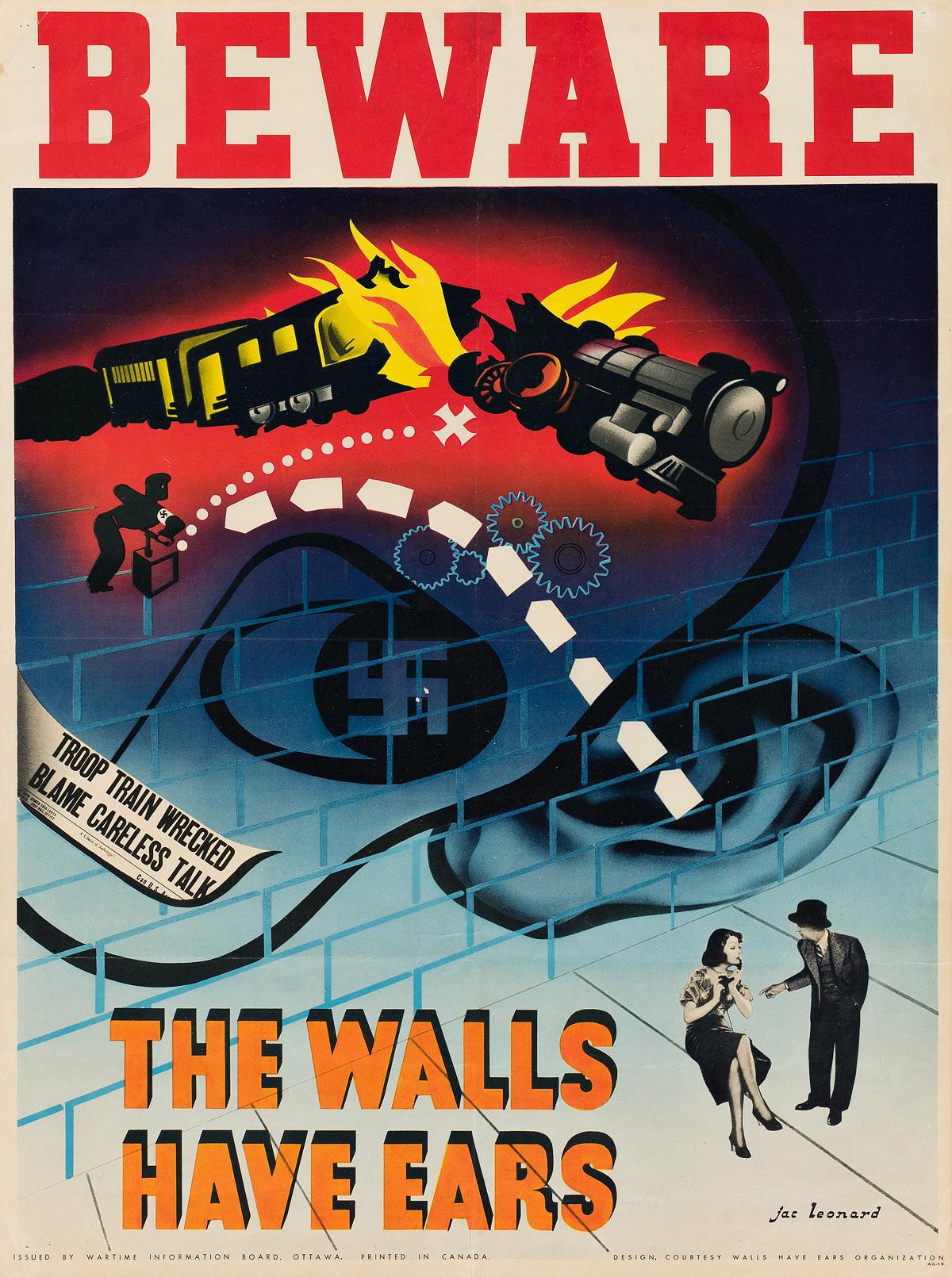 JAC-LEONARD-(1904-1980)-BEWARE--THE-WALLS-HAVE-EARS-Circa-1940-24x18-inches-62x46-cm-Wartime-Information-Board-Ottawa