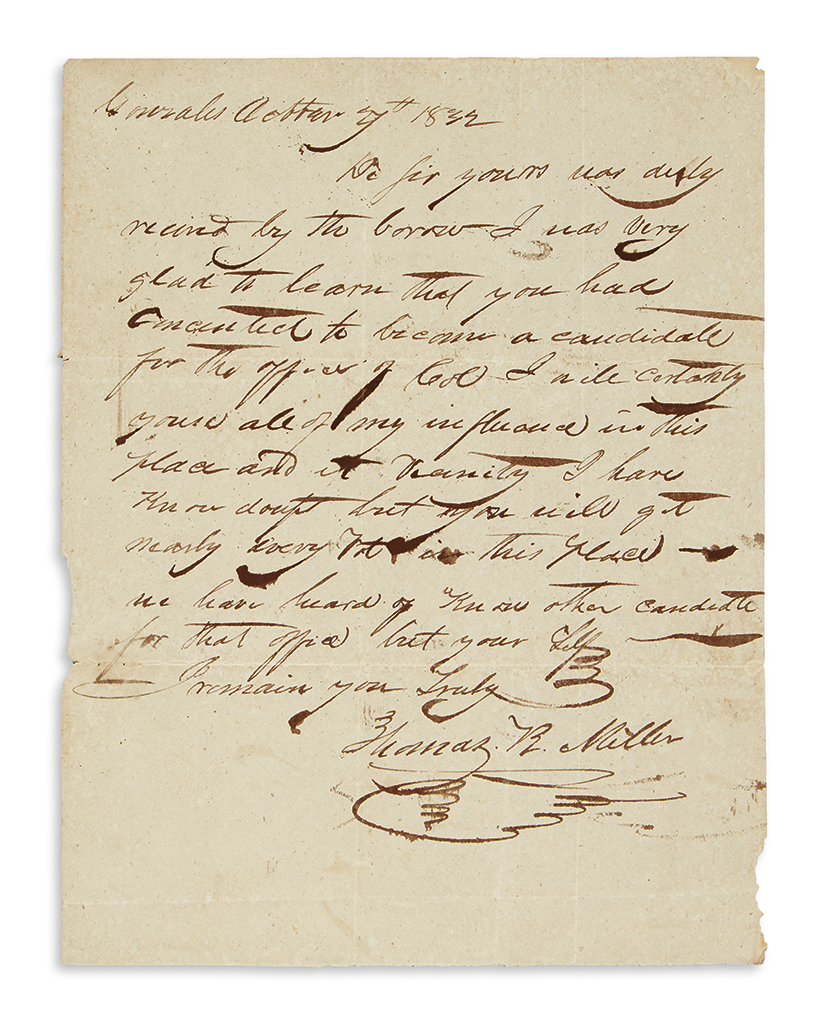(TEXAS.) Miller, Thomas R. Political letter by a future defender of the Alamo.