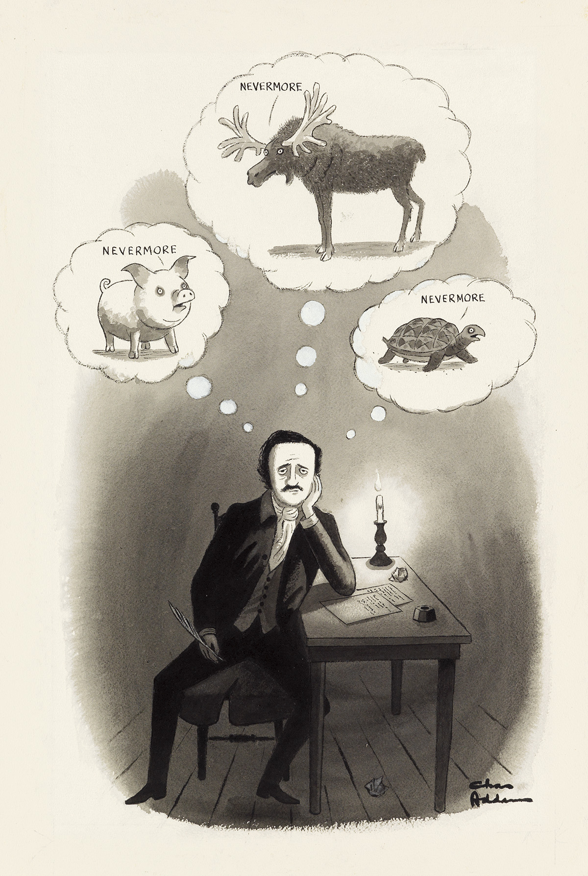 THE NEW YORKER. CHARLES ADDAMS. Nevermore.