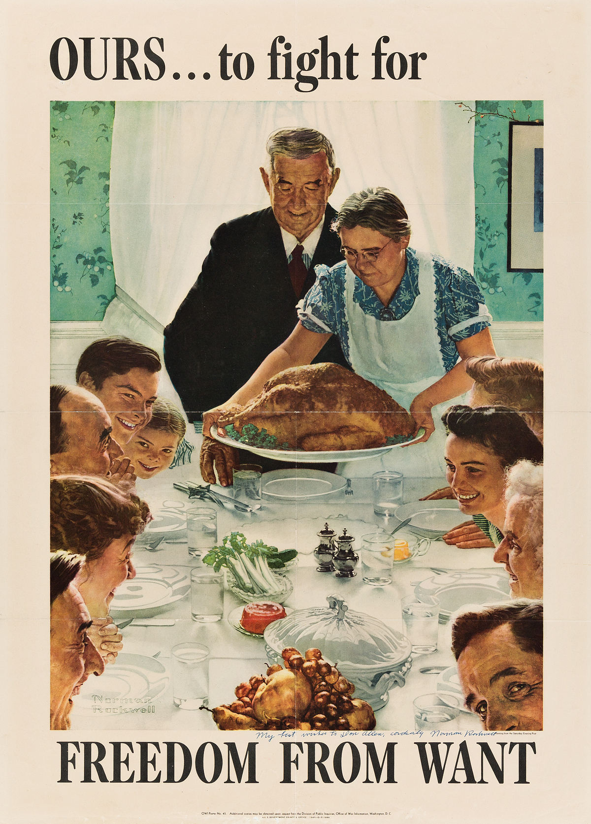 NORMAN ROCKWELL (1894-1978). [THE FOUR FREEDOMS.] Group of 4 posters. 1943. Each 28x20 inches, 71x50 cm. U.S. Government Printing Offic