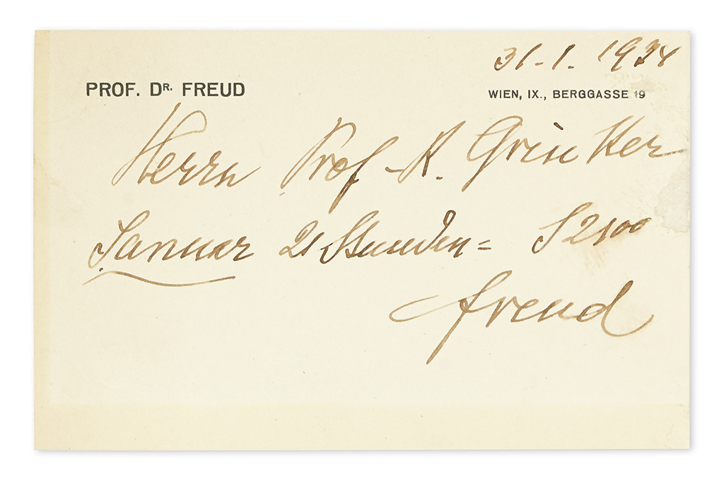 FREUD, SIGMUND. Autograph Note Signed, a bill for 21 hours of services in January amounting to 2,100 Shillings: