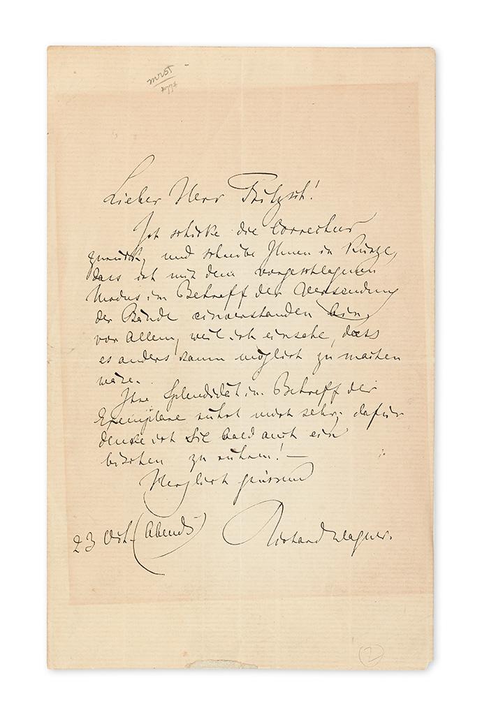 WAGNER, RICHARD. Autograph Letter Signed, to Leipzig publisher Ernst Wilhelm Fritzsch, in German,
