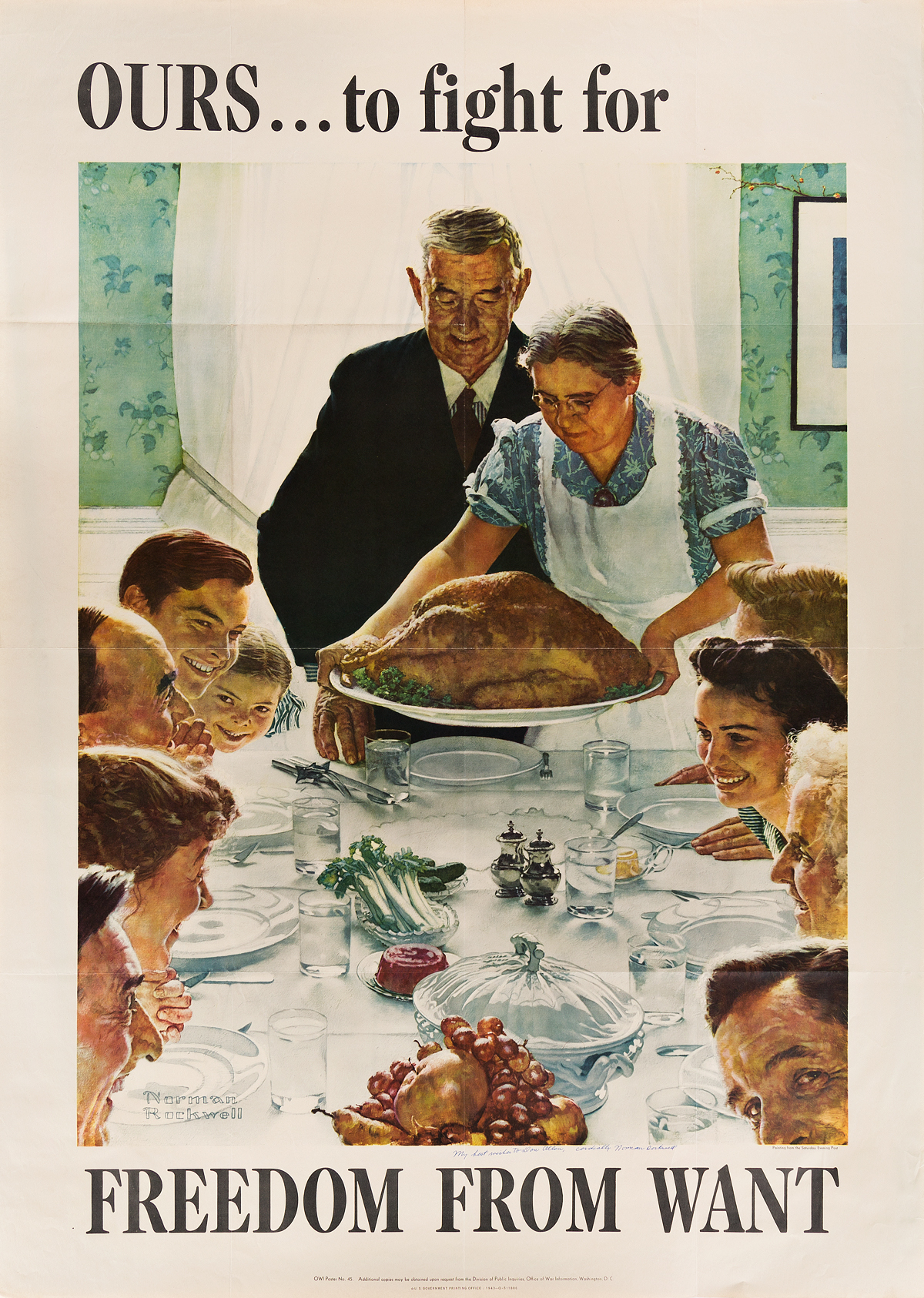 NORMAN ROCKWELL (1894-1978). [THE FOUR FREEDOMS.] Group of 4 posters. 1943. Each 56x40 inches, 142x102 cm. U.S. Government Printing Off