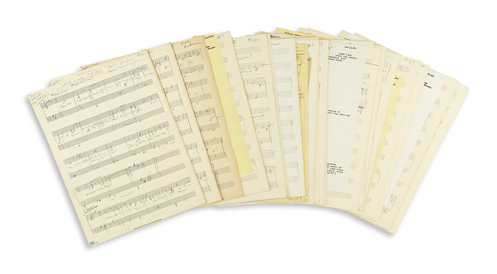 VAN HEUSEN, JIMMY. 14 Autograph Musical Manuscripts, including 3 Signed, working drafts of the vocal score for the musical Walking Happ