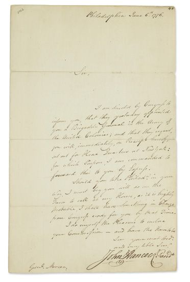 HANCOCK-JOHN-Letter-Signed-as-President-of-the-Continental-C