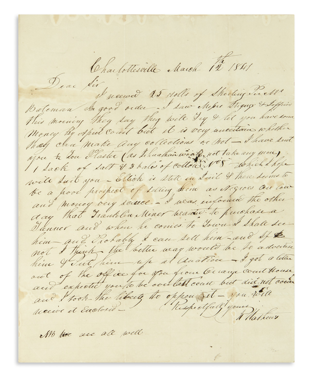 (SLAVERY-AND-ABOLITION)-Mathews-Richard-Letter-discussing-th
