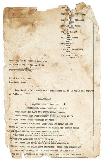 (CIVIL RIGHTS.)--SCOTTSBORO BOYS. April 6, 1931 transcript of the first of the Scottsboro Boys trials.