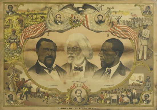 (SLAVERY AND ABOLITION.) DOUGLASS, FREDERICK, HIRAM REVELS, AND BLANCHE W. BRUCE. Heroes of the Colored Race.
