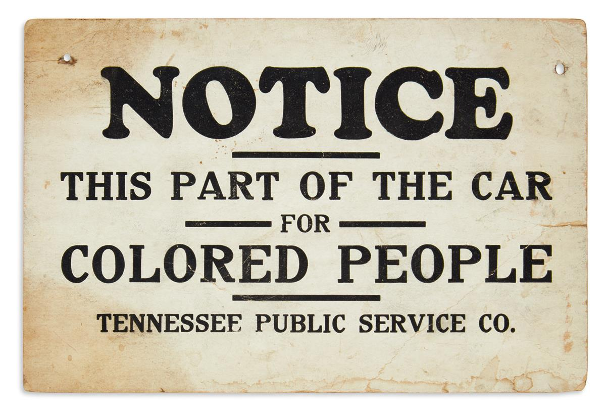 (CIVIL RIGHTS--SEGREGATION.) Notice: This Part of the Car for Colored People.