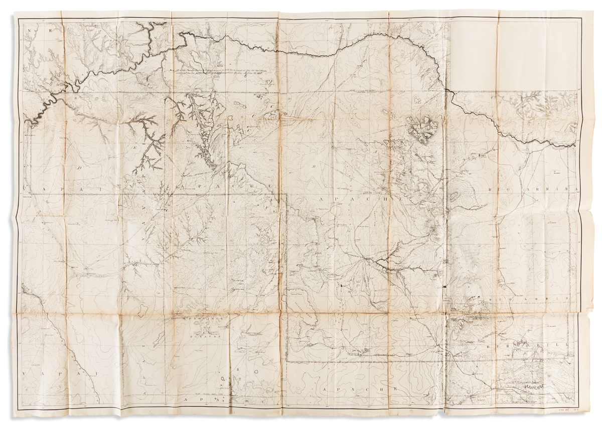 (ARIZONA -- NAVAJO NATION.) Large lithographed folding map of Native American lands in northeastern Arizona.