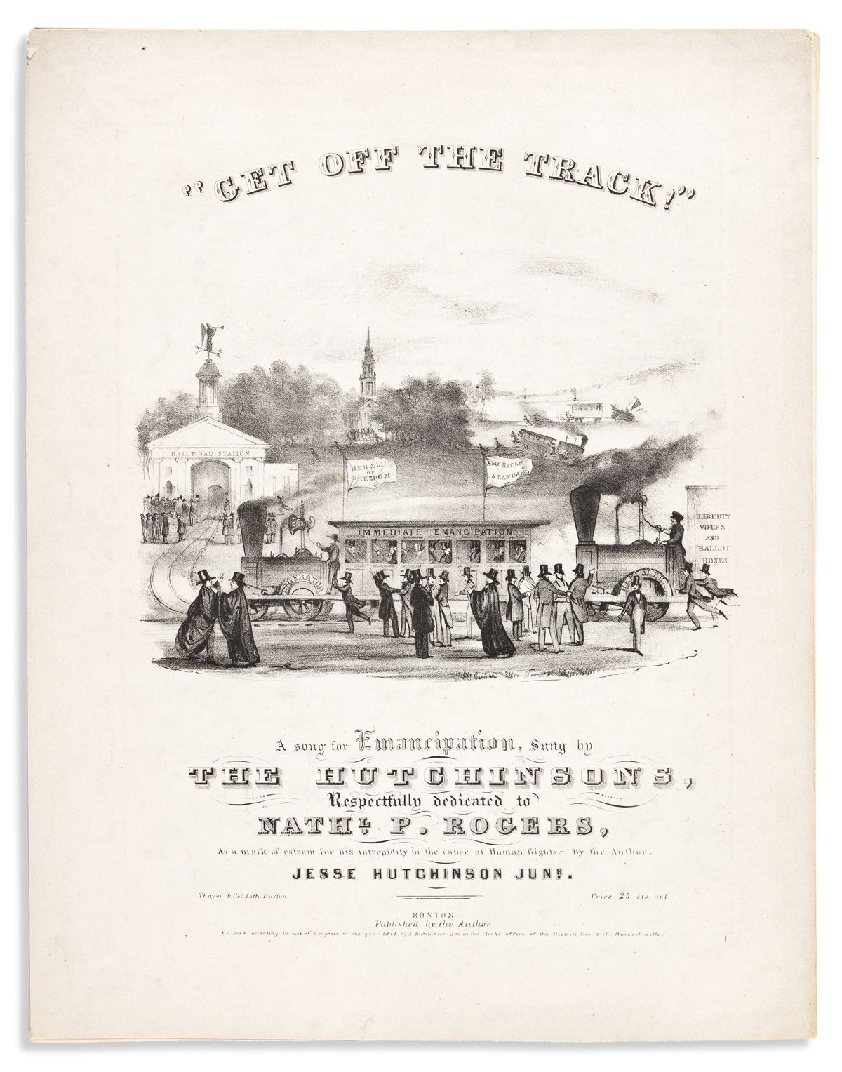 (SLAVERY AND ABOLITION.) Jesse Hutchinson Jr. Get Off the Track! A Song for Emancipation, Sung by the Hutchinsons.
