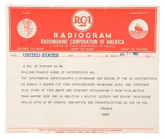 """(UNITED STATES LINES.) """"United States."""" Two original radiograms sent by Frederic Gibbs to his brother William Francis..."""