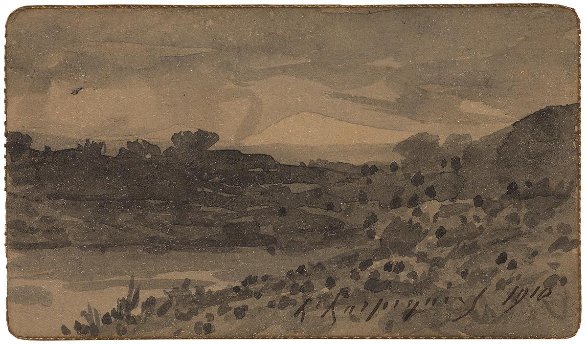 HENRI-JOSEPH-HARPIGNIES-(Valenciennes-1819-1916-Saint-Privé)-A-Horse-Drawn-Cart-in-a-Landscape