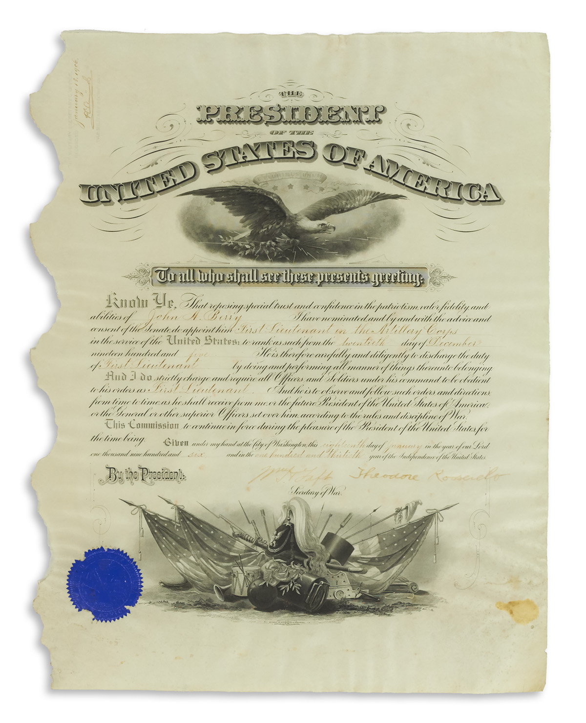 ROOSEVELT, THEODORE. Partly-printed vellum Document Signed, as President,