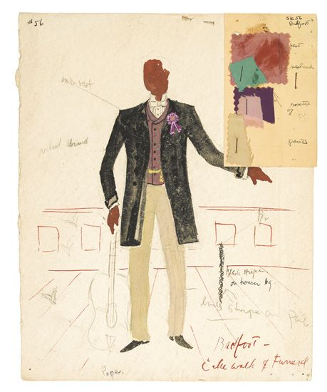 (THEATRE--ART.) AYERS, LEMUEL. Group of five original watercolor sketches for the costumes for St Louis Woman.