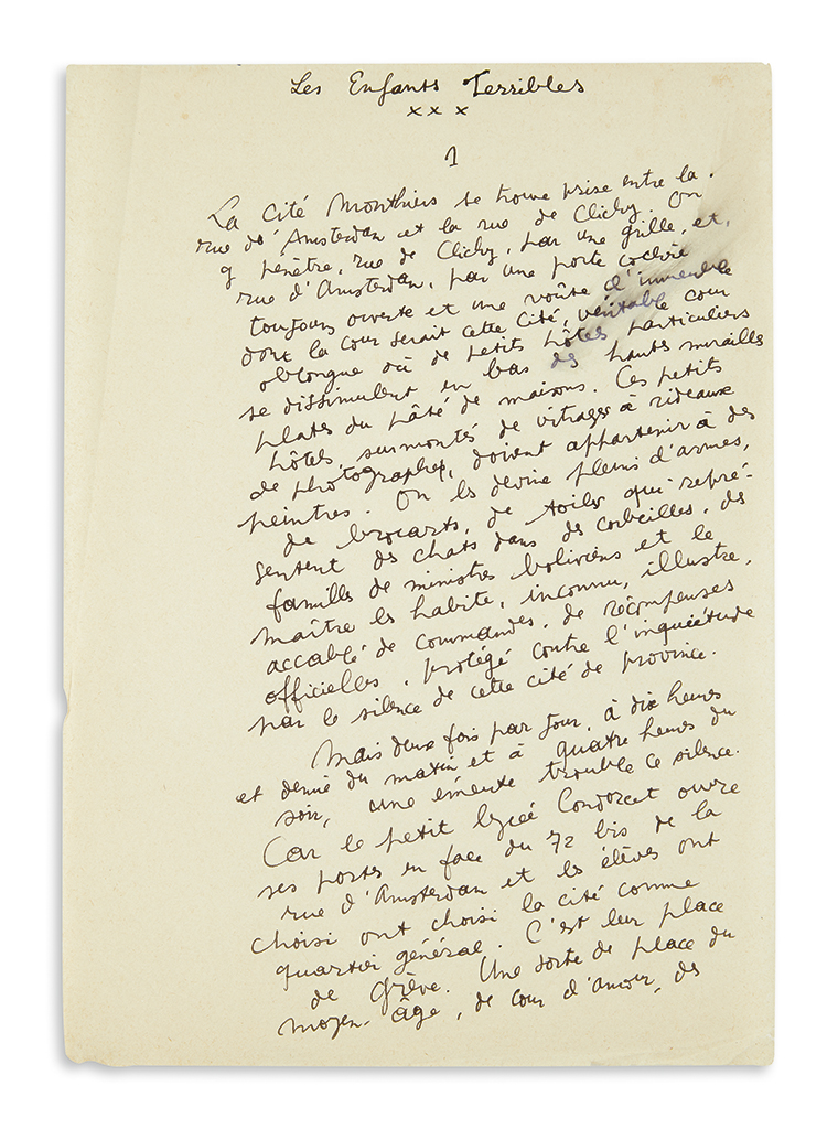 COCTEAU, JEAN. Autograph Manuscript Signed, fragmentary draft of Part One of his novel, Les Enfants Terribles, in French.
