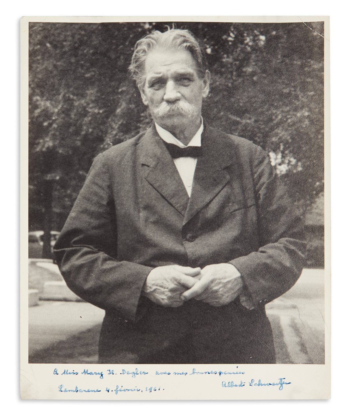 SCHWEITZER-ALBERT-Photograph-Signed-and-Inscribed-To-Miss-Ma
