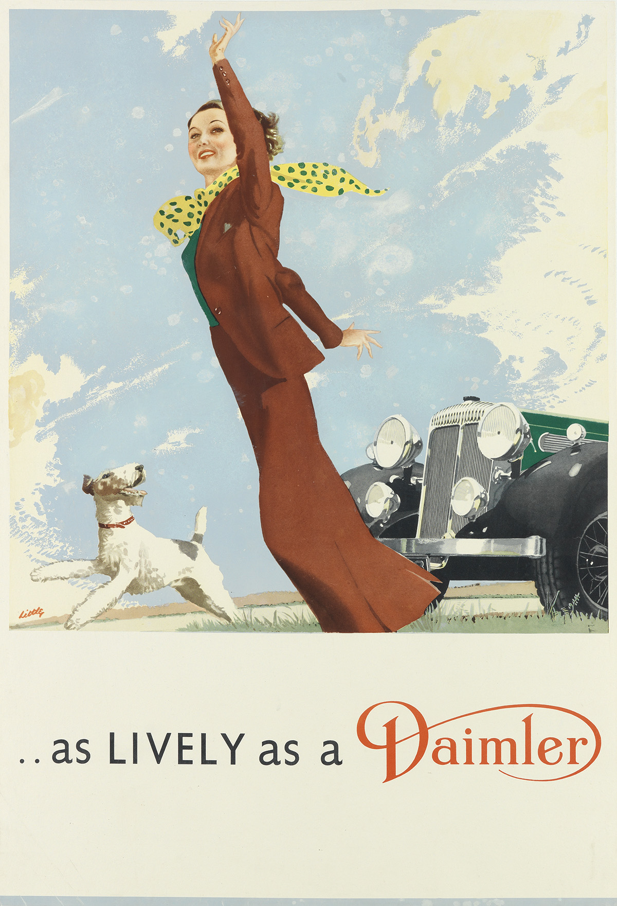 LITTLE (DATES UNKNOWN). . . AS LIVELY AS A DAIMLER. Circa 1930. 29x20 inches, 74x50 cm.