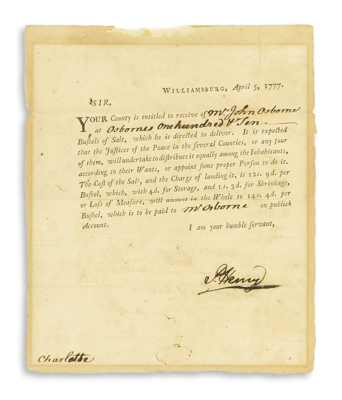(AMERICAN-REVOLUTION)-HENRY-PATRICK-Partly-printed-Letter-Si