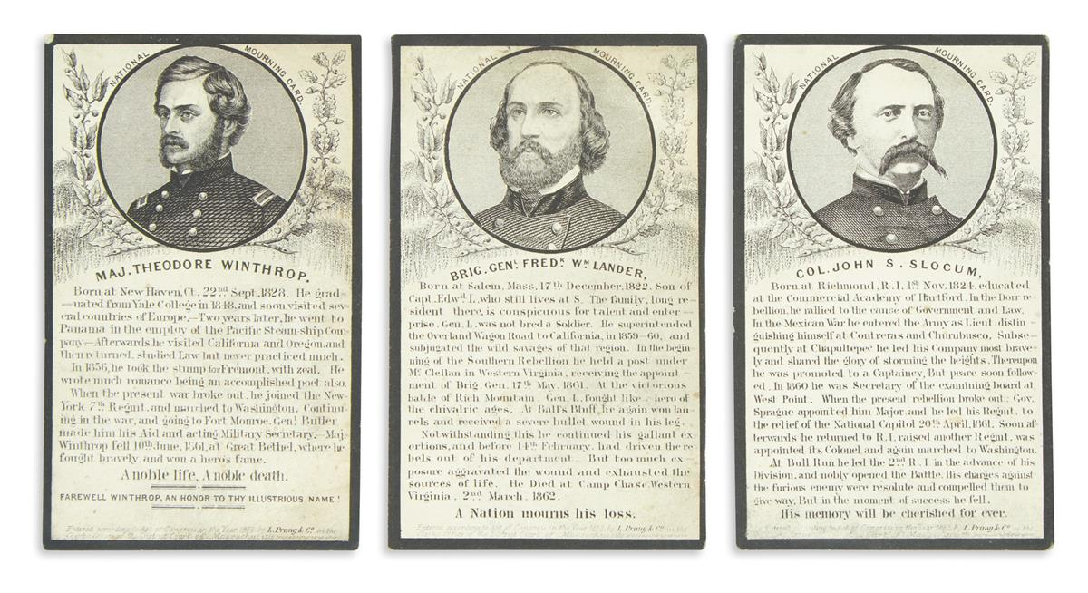 (CIVIL WAR.) Group of National Mourning Cards.