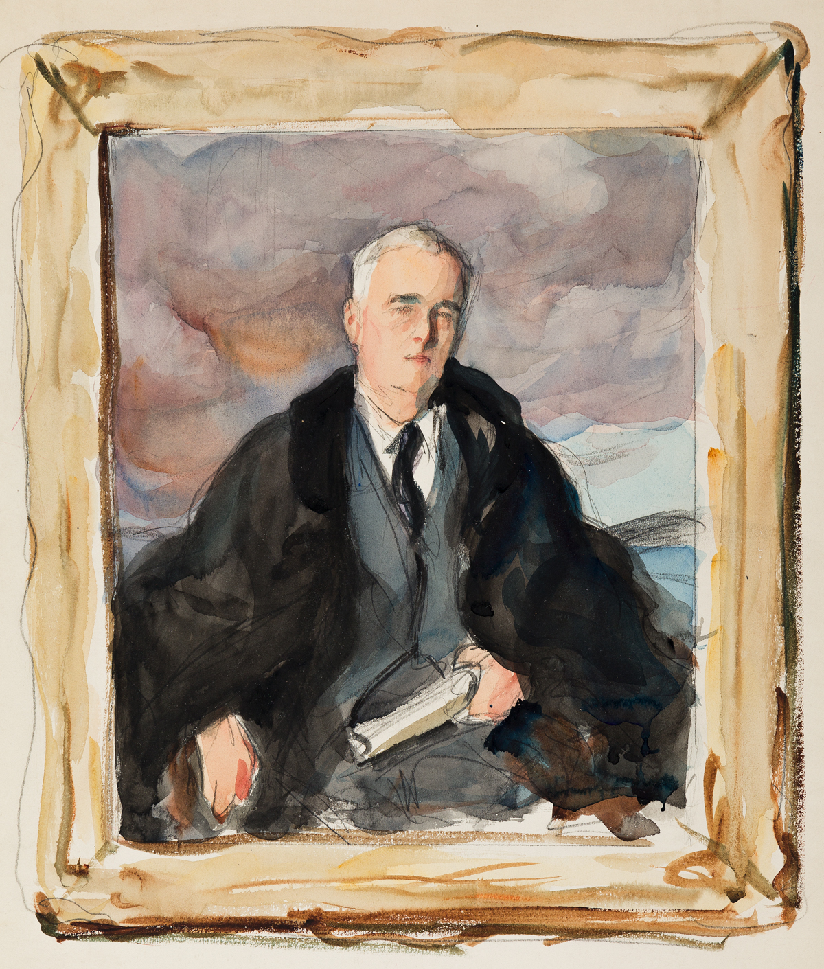 (PRESIDENTS--1945) Elizabeth Shoumatoff. Three watercolor studies for the famous Unfinished Portrait of Franklin D. Roosevelt.