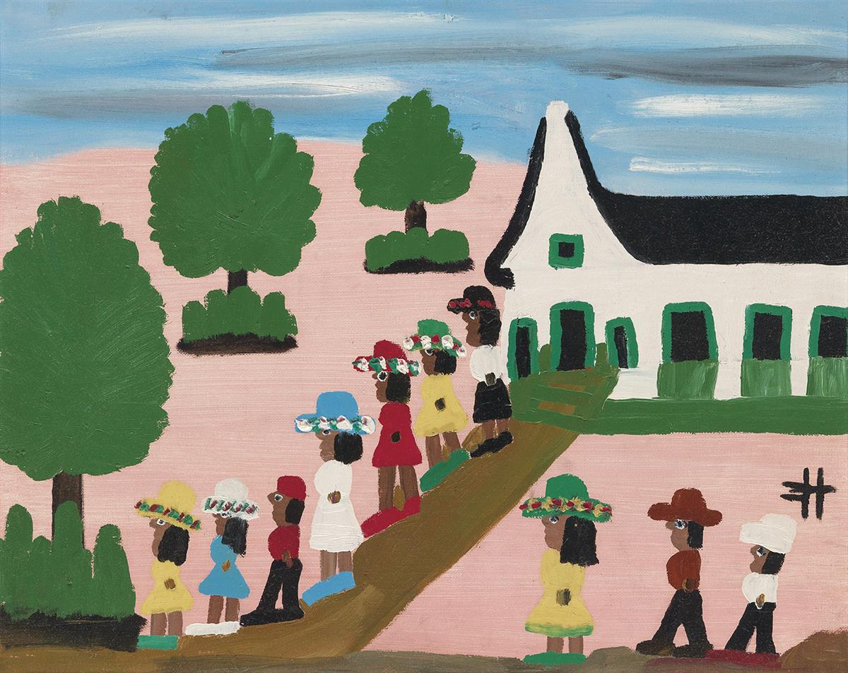 CLEMENTINE HUNTER (1886 - 1988) Untitled (Leaving Church Sunday).