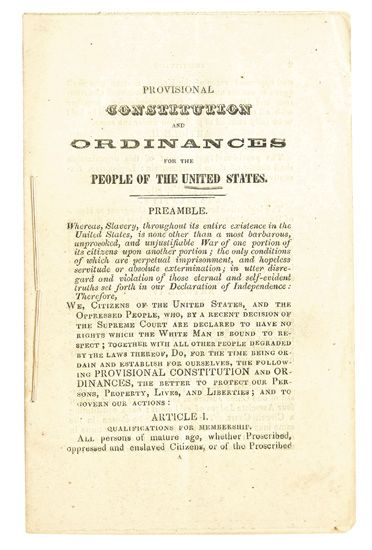 (SLAVERY AND ABOLITION.) [BROWN, JOHN.] Provisional Constitution and Ordinances for People of the United States.