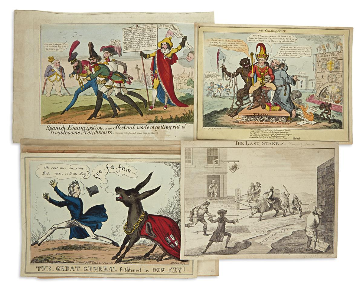 (SATIRE.) Group of 20 mostly hand-colored etched and lithographed English caricatures.
