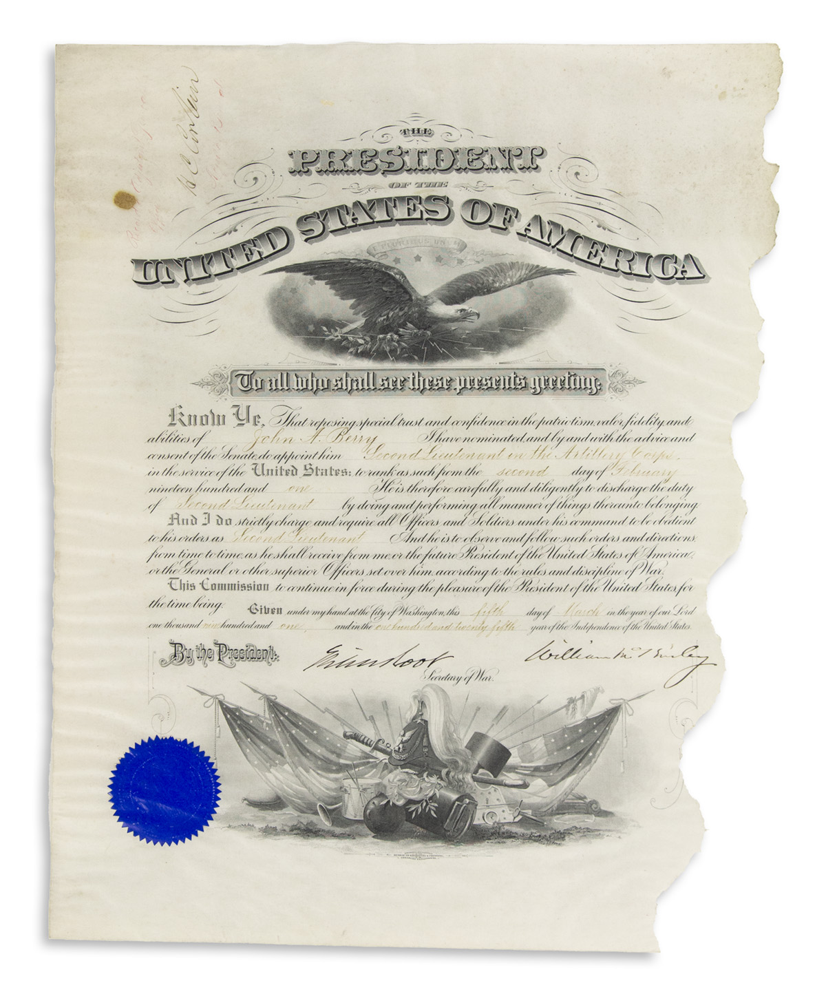 MCKINLEY, WILLIAM. Partly-printed vellum Document Signed, as President,