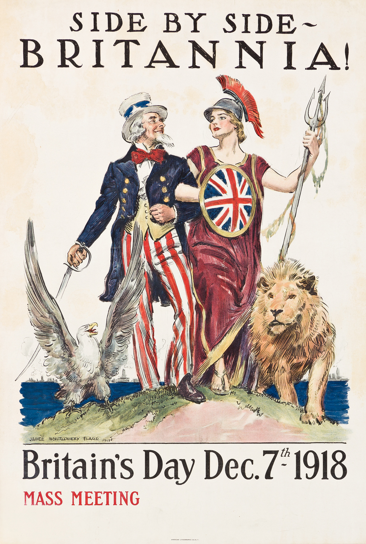 JAMES MONTGOMERY FLAGG (1870-1960).  SIDE BY SIDE - BRITANNIA! / BRITAINS DAY. 1918. 30x20¼ inches, 76¼x51½ cm. American Lithographic