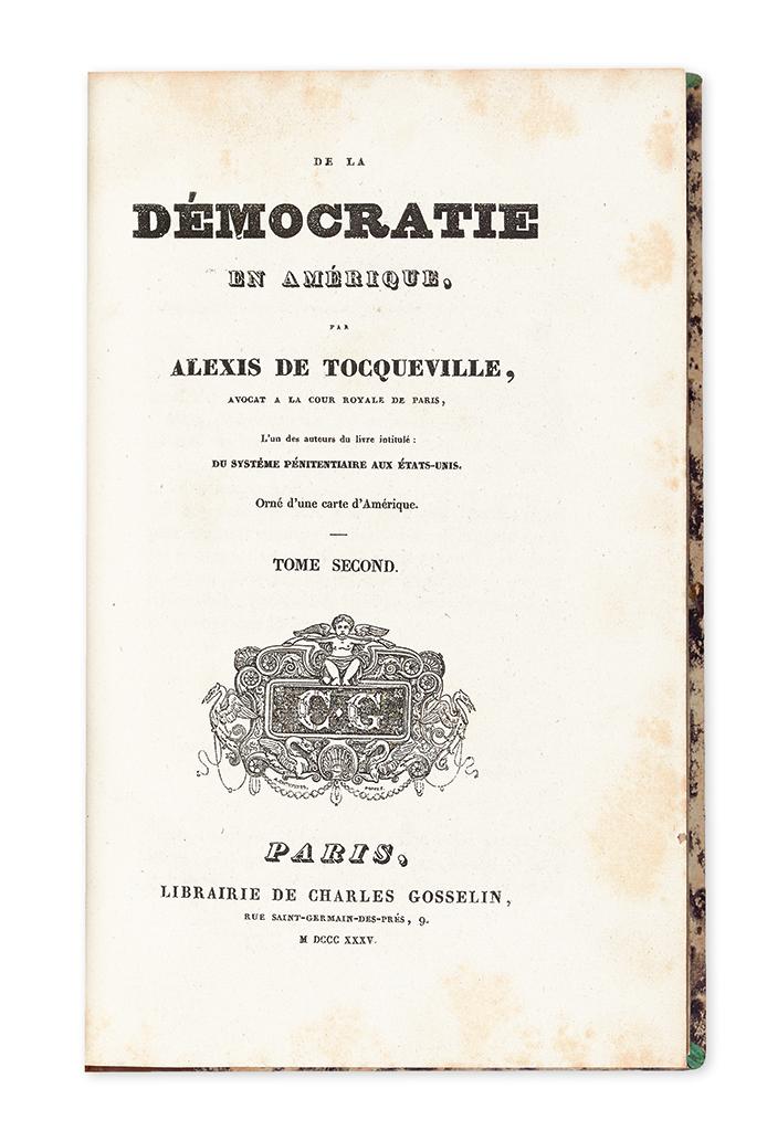 TOCQUEVILLE, ALEXIS DE. De la Démocratie en Amérique.