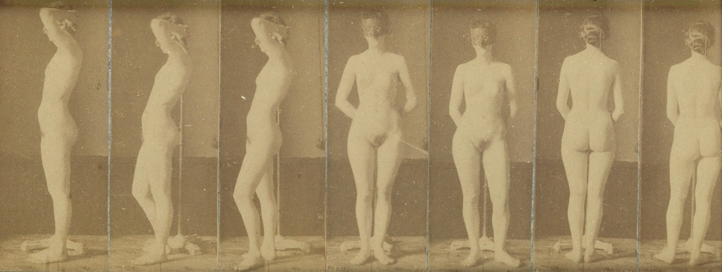 THOMAS EAKINS (1844-1916) Series of 7 photographs from the Naked Series, with a female model wearing a blindfold.