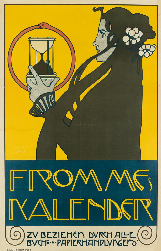 KOLOMAN MOSER (1868-1918). FROMMES KALENDER. 1899. 37x24 inches, 96x62 cm. A. Berger, Vienna.