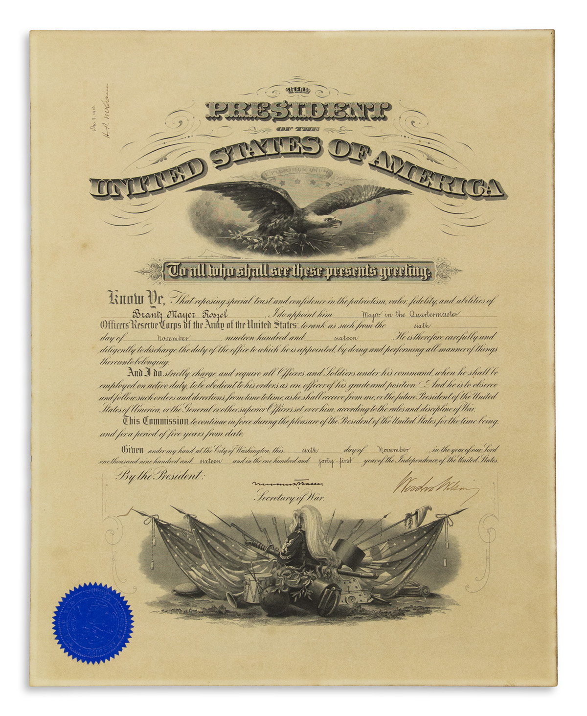 WILSON-WOODROW-Partly-printed-Document-Signed-as-President