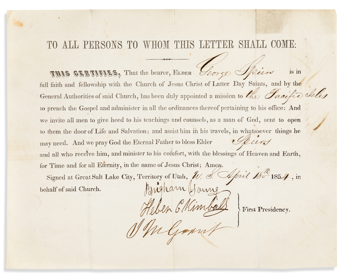(MORMONS.) YOUNG, BRIGHAM. Partly-printed Document Signed, as President of The Twelve,
