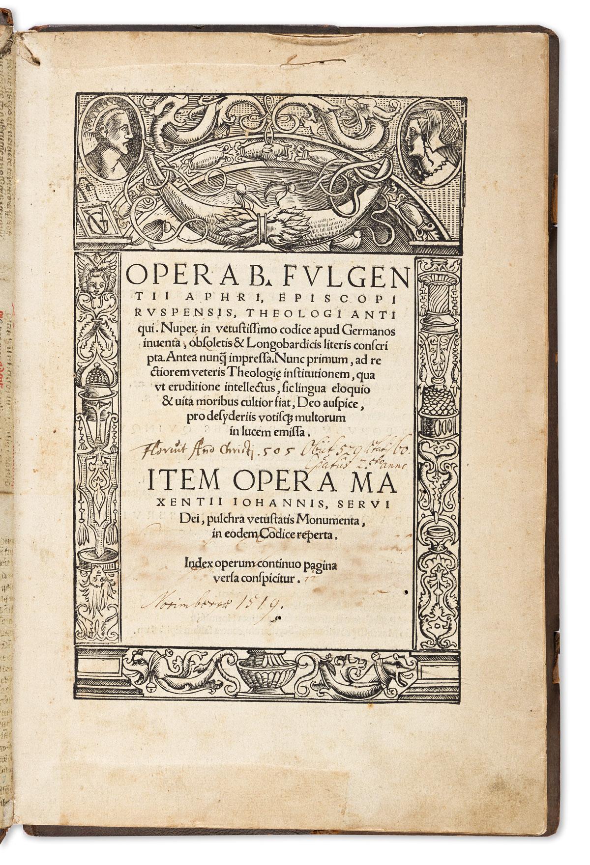Fulgentius of Ruspe (462-533 CE) Opera.