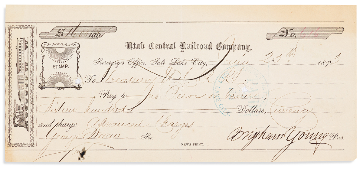 (MORMONS.) YOUNG, BRIGHAM. Partly-printed Document Signed, as President of the Utah Central Railroad Company,